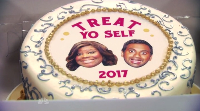 The cake that Tom made for Donna in the future on Parks & Rec for Treat Yo Self day.