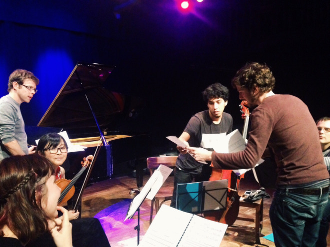 Hannah, far left, working with Belgian group Ensemble Fractales and English composer Olly Sellwood ahead of a concert in Brussels.